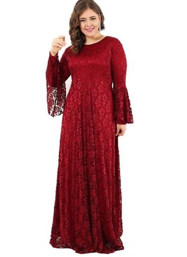 Angelino Butik Büyük Beden Kolları Volanlı Tesettür Elbise DD791T Bordo